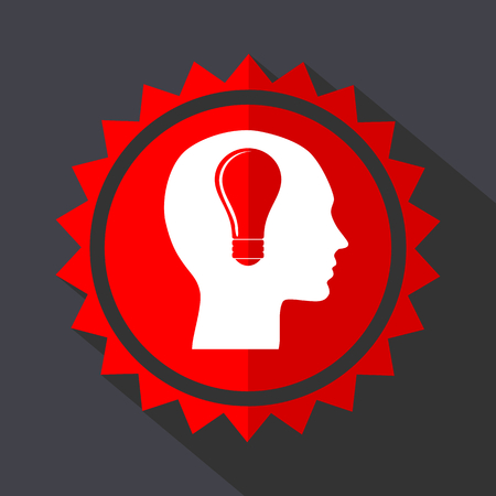 Head red vector sticker flat design icon Illustration