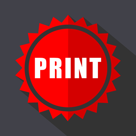 Print red vector sticker flat design icon