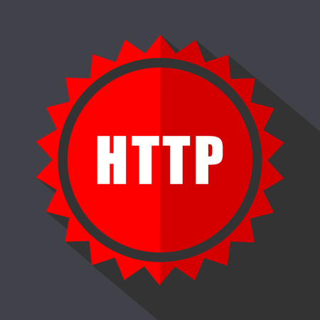 Http red vector sticker flat design icon  イラスト・ベクター素材
