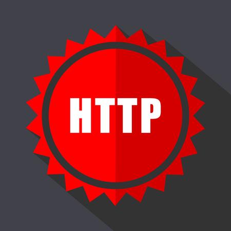 Http red vector sticker flat design icon Illustration