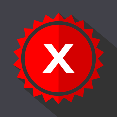 Cancel red vector sticker flat design icon Illustration