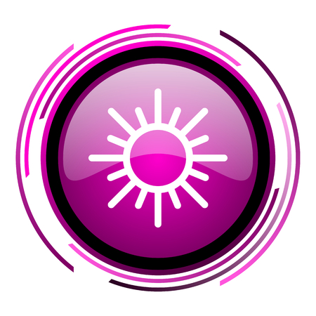 Sun pink glossy web icon isolated on white background