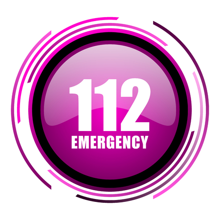Number emergency 112 pink glossy web icon isolated on white background