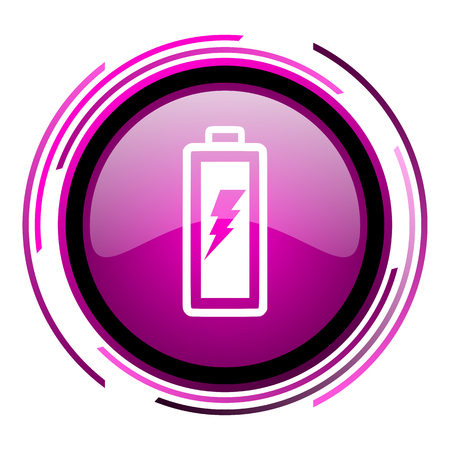 Battery pink glossy web icon isolated on white background Stock Photo