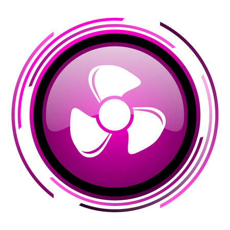 Fan pink glossy web icon isolated on white background