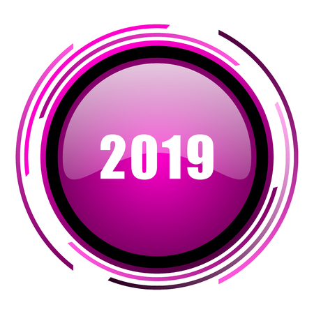 New year 2019 pink glossy web icon isolated on white background