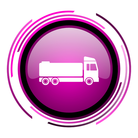Truck pink glossy web icon isolated on white background
