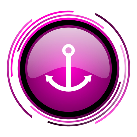 Anchor pink glossy web icon isolated on white background