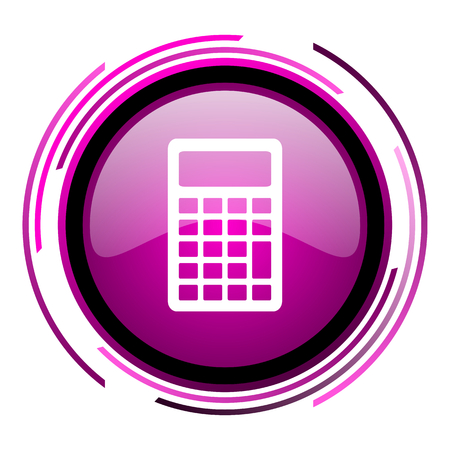 Calculator pink glossy web icon isolated on white background Foto de archivo