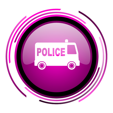 Police pink glossy web icon isolated on white background