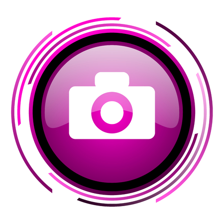 Camera pink glossy web icon isolated on white background