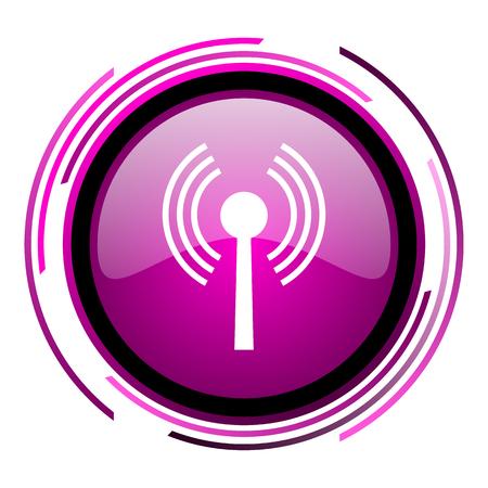 Icono web brillante rosa Wifi aislado sobre fondo blanco.
