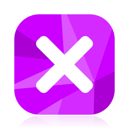 Cancel flat vector icon. Cross violet web button. Exit internet square sign. Close modern design