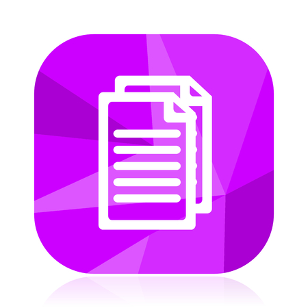 Document flat vector icon. Copy violet web button. Letter internet square sign. Mail modern design symbol