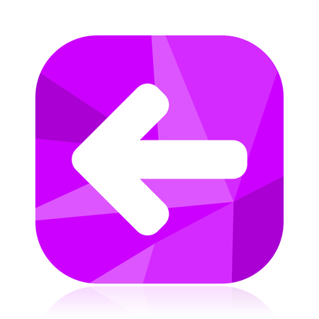 Arrow flat vector icon. Left violet web button. Navigation internet square sign. Direction modern design symbol