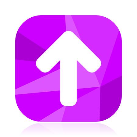 Up arrow flat vector icon. Top violet web button. Navigation internet square sign. Direction modern design symbol