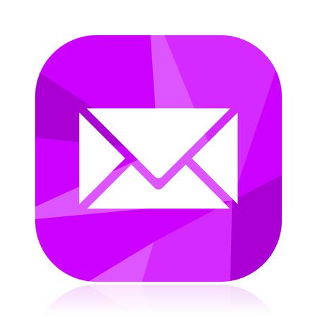 Email flat vector icon. Envelope violet web button. Letter internet square sign. Post modern design symbol