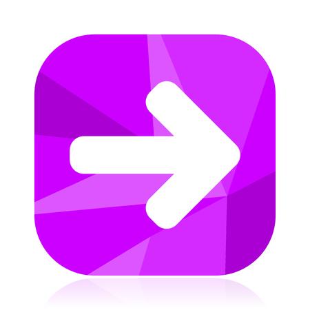 Arrow flat vector icon. Right violet web button. Direction internet square sign. Forward modern design symbol