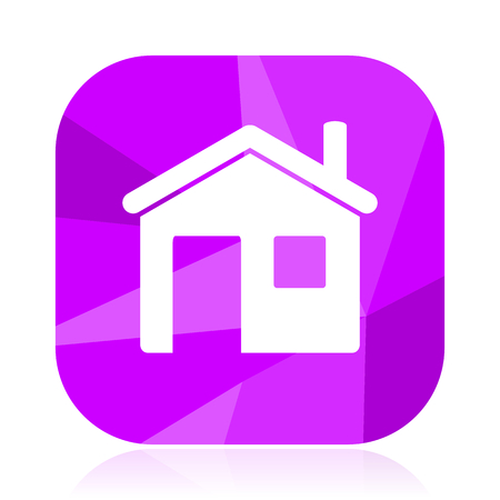 House flat vector icon. Home violet web button. Hotel internet square sign. Building modern design symbol