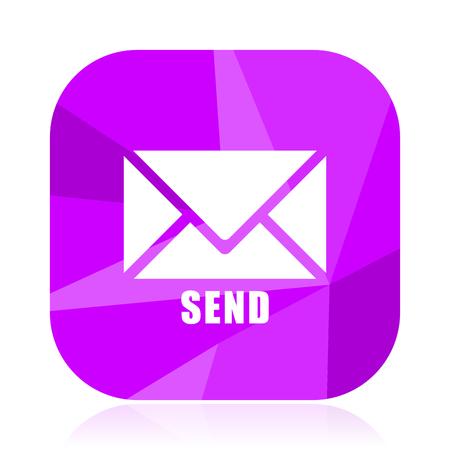 Send flat vector icon. E-mail violet web button. Letter internet square sign. Post modern design symbol