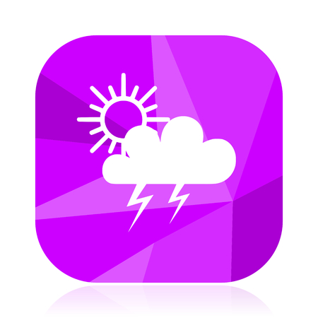 Storm flat vector icon. Weather forecast violet web button. Meteorology internet square sign.