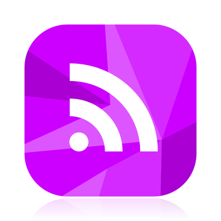 Rss flat vector icon. WiFi violet web button. Communications internet square sign. Wireless modern design symbol