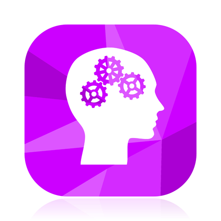 Head flat vector icon. Brain violet web button. Idea internet square sign. Creativity modern design symbol Illustration