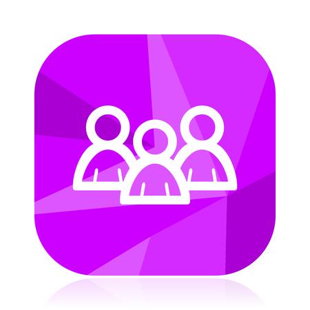 Forum flat vector icon. People violet web button. Group internet square sign. Social network modern design symbol