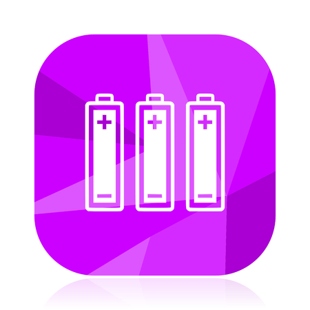 Battery flat vector icon. violet web button. internet square sign.