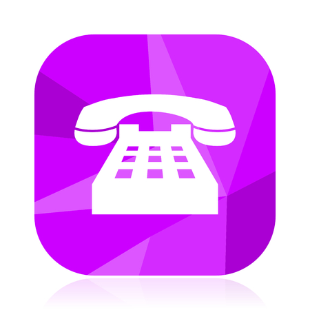 Phone flat vector icon. Call violet web button. Telephone internet square sign. Contact modern design symbol