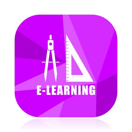 Learning flat vector icon. violet web button. internet square sign. modern design symbol Illustration