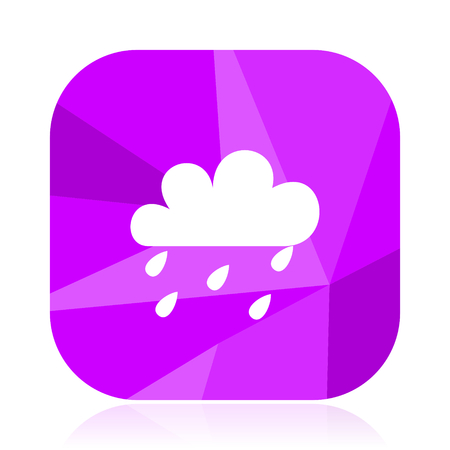 Rain flat vector icon. Weather forecast violet web button. Meteorology internet square sign.