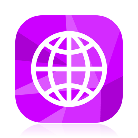 Earth flat vector icon. Globe violet web button. World internet square sign. Planet modern design symbol Illustration