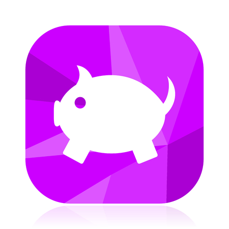 Pig flat vector icon. Farm animal violet web button. Toy internet square sign. Piggy bank modern design symbol