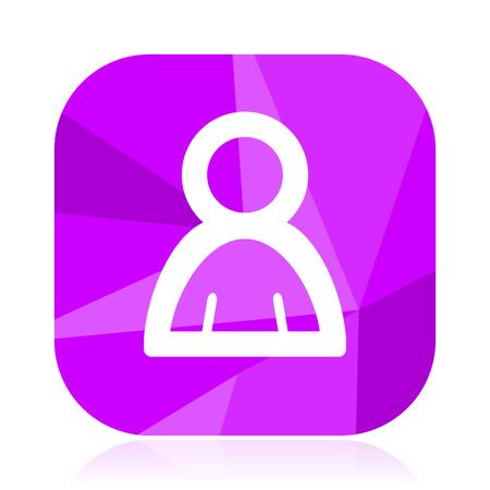 Person flat vector icon. Human violet web button. Avatar internet square sign. Man modern design symbol