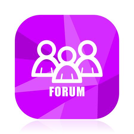 Forum flat vector icon. Social violet web button. Group internet square sign. People modern design symbol Illustration