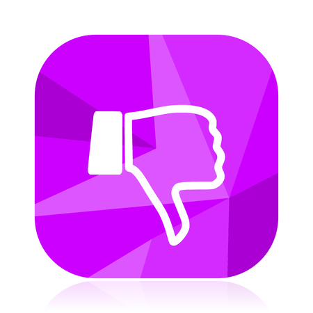 Dislike flat vector icon. Thumb down violet web button. Unlike internet square sign. Negative modern design symbol