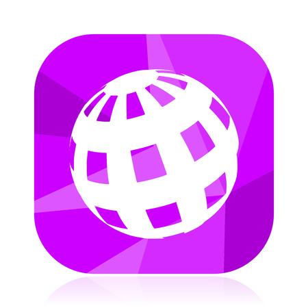 Earth flat vector icon. Planet violet web button. Globe internet square sign. World modern design symbol Illustration