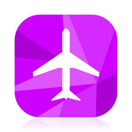 Plane flat vector icon. Airplane violet web button. Airport internet square sign. Travel modern design symbol