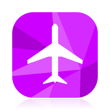 Plane flat vector icon. Airplane violet web button. Airport internet square sign. Travel modern design symbol