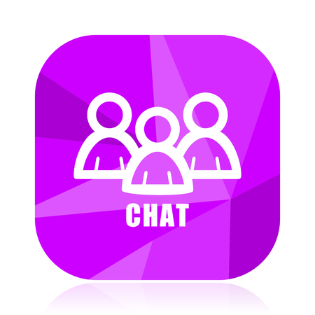 Chat flat vector icon. Group violet web button. People internet square sign. Text modern design symbol Illustration