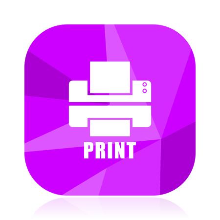 Printer flat vector icon. Print violet web button. Fax internet square sign. Write modern design symbol