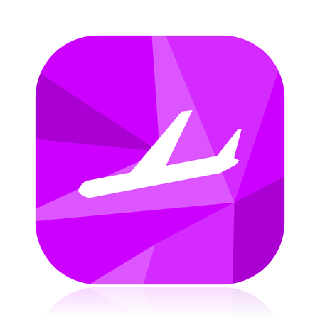 Arrivals flat vector icon. Plane violet web button. Airplane internet square sign. Fly modern design symbol