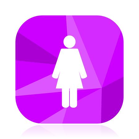Female flat vector icon. Woman violet web button. Girl internet square sign. Avatar modern design symbol