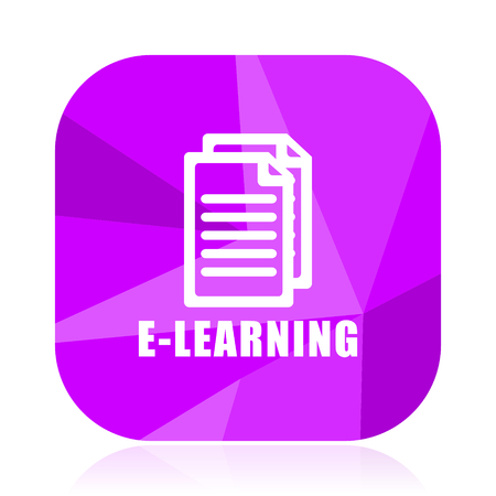 Learning flat vector icon. violet web button. internet square sign. Illustration