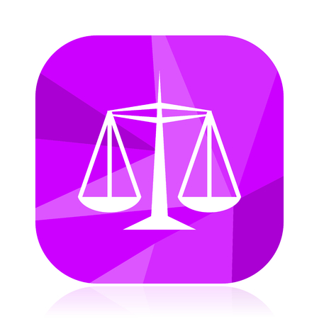 Justice flat vector icon. Court violet web button. Balance internet square sign.