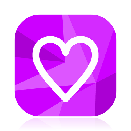 Heart flat vector icon. Love violet web button. Like internet square sign. Valentine modern design symbol