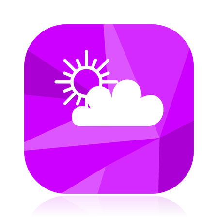 Cloud flat vector icon. Weather forecast violet web button. Meteorology internet square sign.