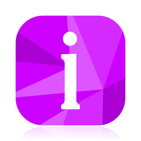 Information flat vector icon. Help violet web button. Guide internet square sign. Info modern design symbol