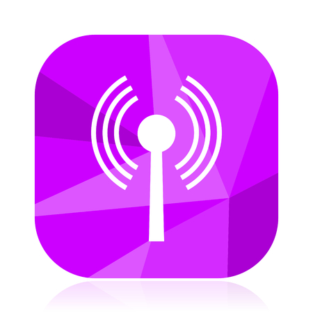 Wifi flat vector icon. Hot spot violet web button. Wireless internet square sign. Antenna modern design symbol